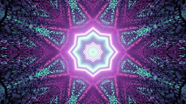 Kaleidoscopic multifaceted star shaped pattern with neon illumination in mosaic labyrinth in 3d illustration