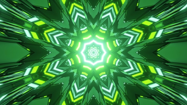 Kaleidoscopic pattern with bright yellow and green neon lights reflecting in symmetric lines in 3d illustration
