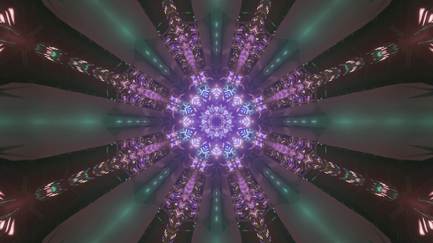 抽象的な3dイラストとして光線で輝くネオン紫のパターンを持つ万華鏡のようなトンネル