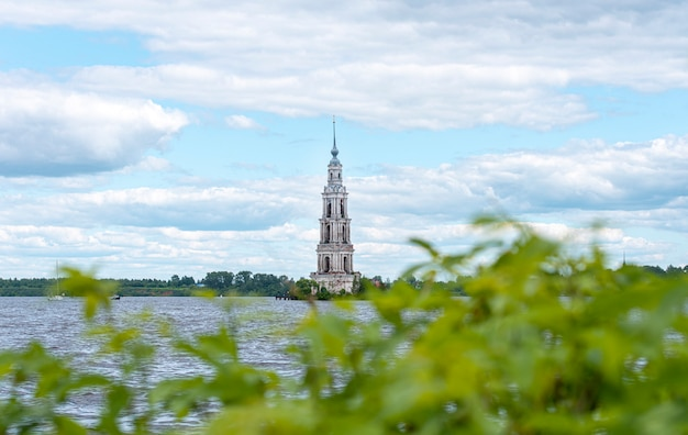 Kalyazin flooded belfry or bell tower over volga river is a part of the flooded old church in old russian town kalyazin in russia