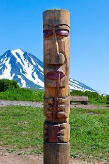 Kamchatka aboriginal totem pole on  volcano