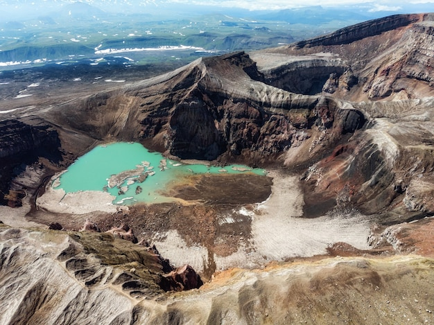 On the kamchatka peaks there are volcanic craters, inside of which there are volcanic lakes