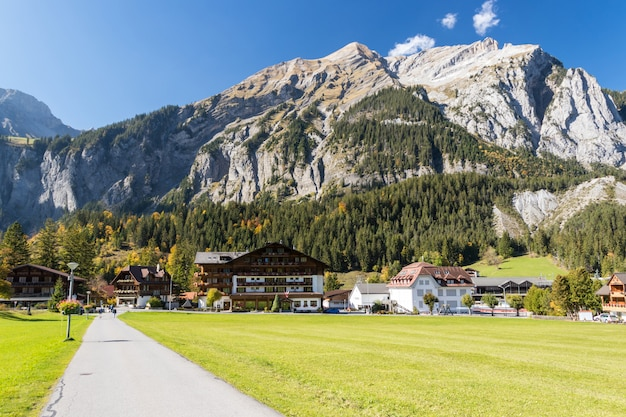 Kandersteg valley with green grass and mountain in switzerland,