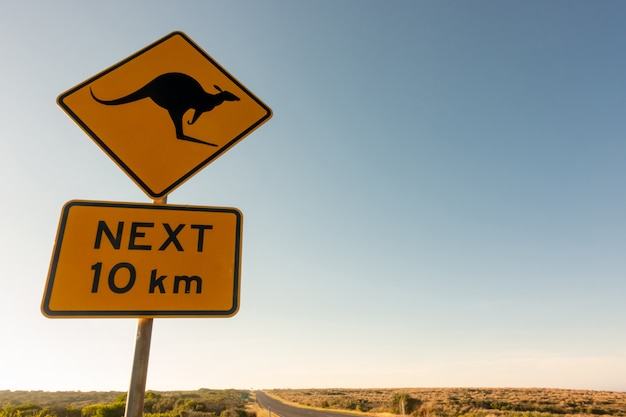 Kangaroo crossing road sign