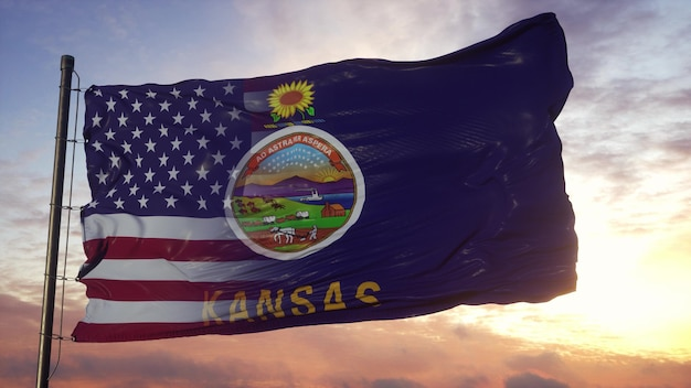 깃대에 캔자스와 미국 국기입니다. 미국과 캔자스 혼합 플랙 손 흔드는 바람