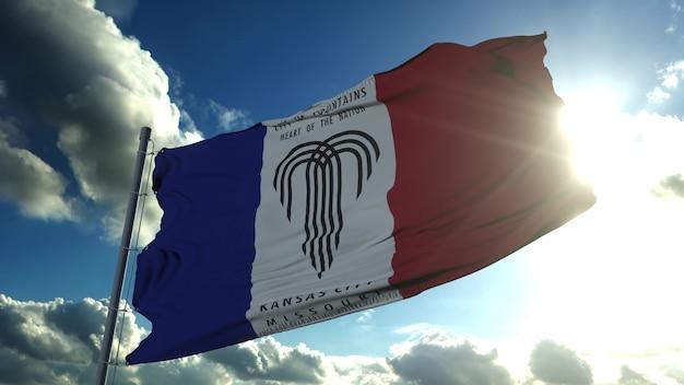 カンザスシティの旗、アメリカ合衆国またはアメリカ合衆国の街、青い空に風に揺れています。 3dレンダリング