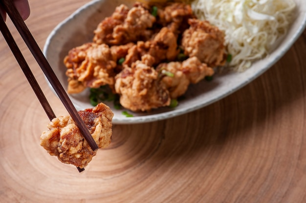 Karaage. typical japanese fried chicken.