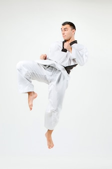 The karate man with black belt