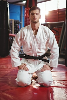 Karate player performing karate stance