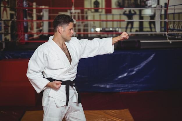 Karate player practicing karate stance