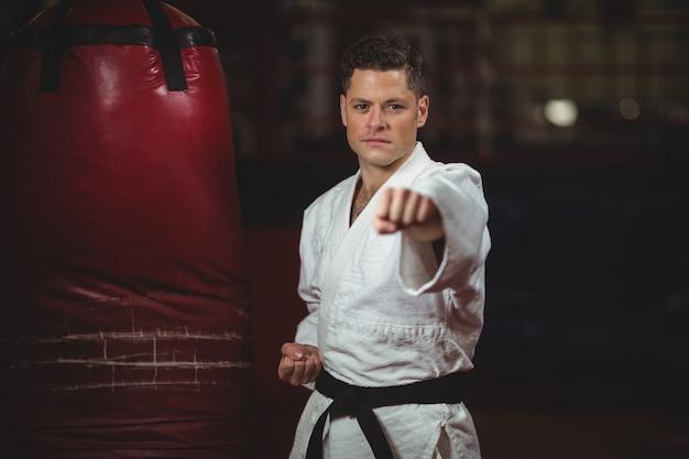 Karate player practicing