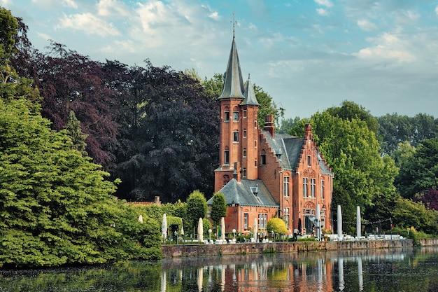 Kasteel minnewater restaurant on minnewater lake in bruges belgium