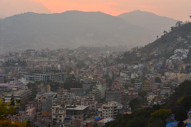 Kathmandu capital city on during sunset, nepal