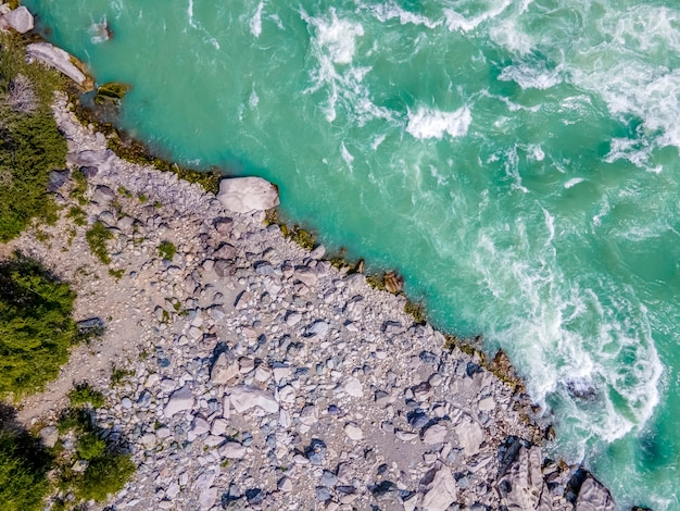 Katun river turquoise water and rocky coast altai mountains russiaaã'â'aã'âaerial view