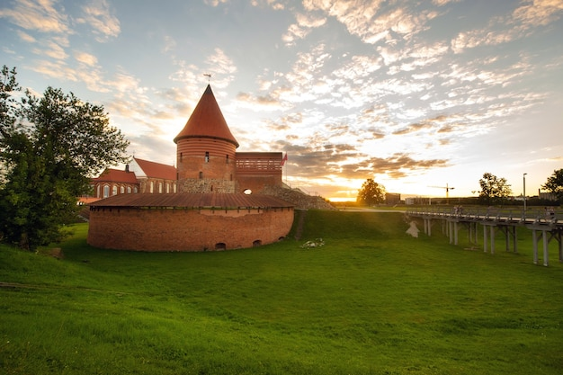 Kaunas castle in the gothic style in summer at sunset, lithuania