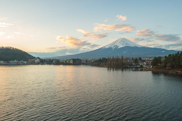 Kawagushiko lake with fujisan mountain in japan.