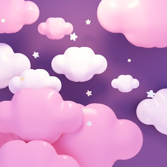 Kawaii purple clouds and stars at night 3d rendered picture