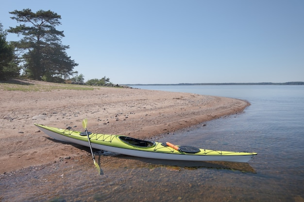 Kayak moored to the shore. picturesque location