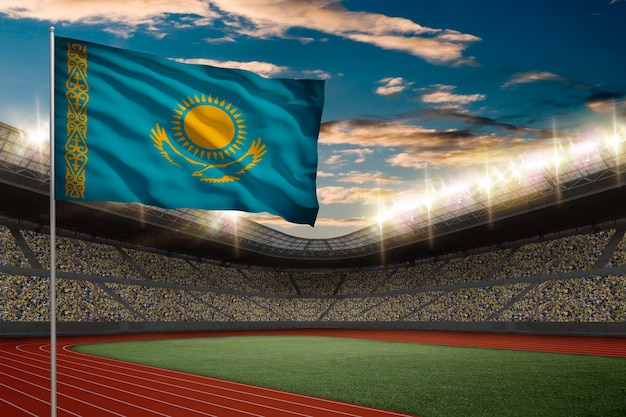 Kazakh flag in front of a track and field stadium with fans.