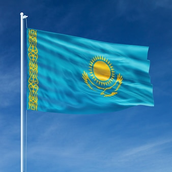 Kazakhstan flag flying