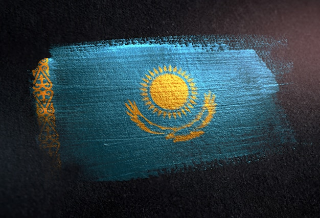 Kazakhstan flag made of metallic brush paint on grunge dark wall