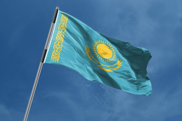 Kazakhstan flag waving