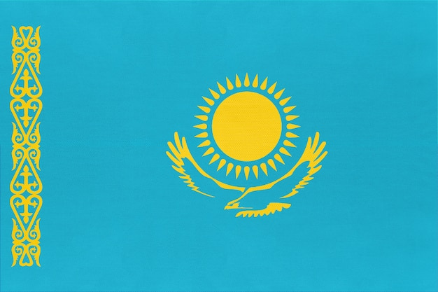 Kazakhstan national fabric flag textile background, symbol of world asian country ,