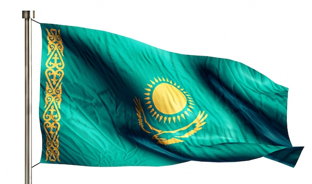 Kazakhstan national flag isolated 3d white background