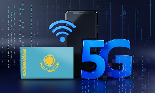 Kazakhstan ready for 5g connection concept. 3d rendering smartphone technology background