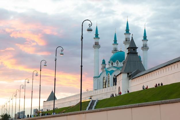 Kazan kremlin and the kul sharif mosque in kazan kremlin at sunset.