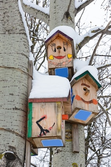 Kazan, russia - february 25, 2019: smiling birdhouses. birdhouse in the form of a funny face on the tree. handmade wooden nesting box covered in snow. winter landscape with trees covered of the snow.