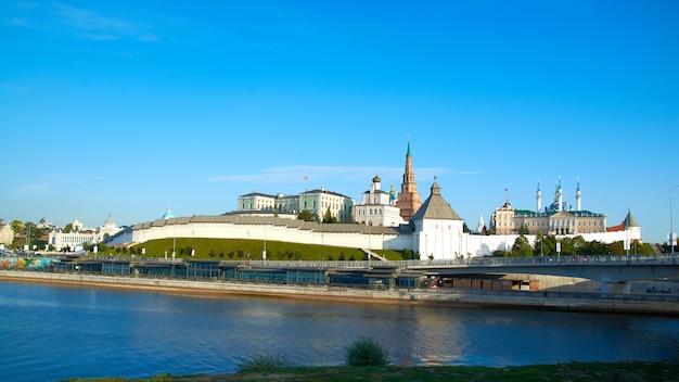 Kazanka river embankment with a view of the kazan kremlin.summer sunny day