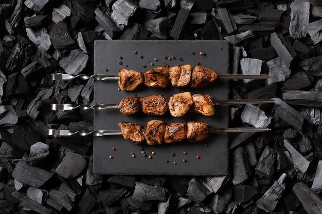 Kebab on skewers.