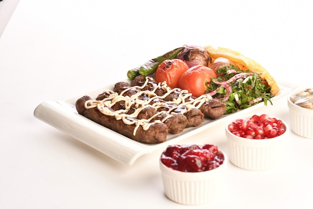Kebab traditional turkish greek meat food isolated on white background
