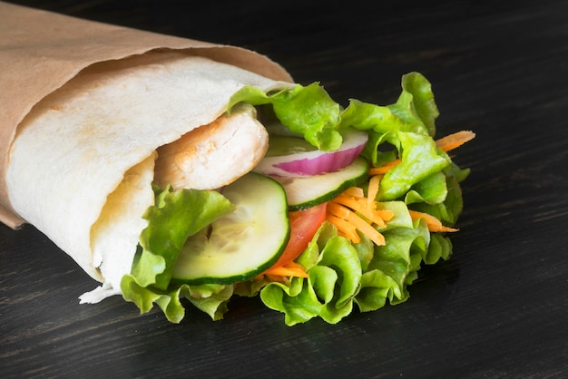 Kebab wrap with meat and vegetables