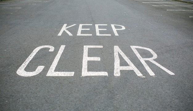Keep clear markings on the road