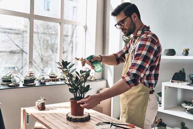 植物をリフレッシュしておく。鉢植えの植物に水をまくエプロンのハンサムな若い男