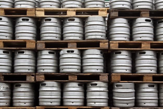 Kegs of beer in regular rows