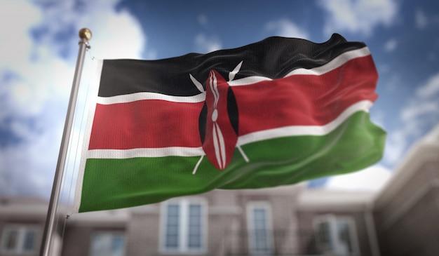 푸른 하늘 건물 배경에 케냐 플래그 3d 렌더링