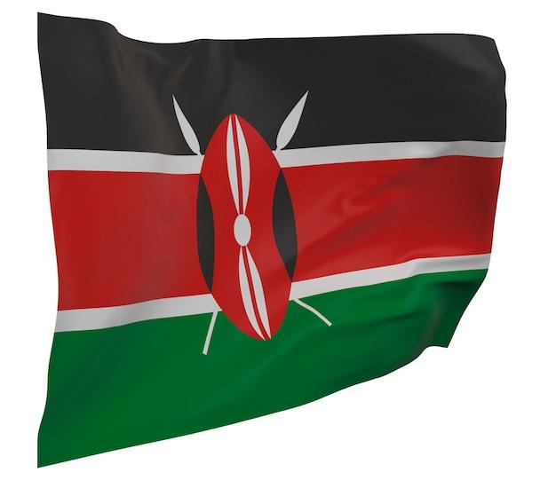 Флаг кении изолирован. размахивая знаменем. государственный флаг кении