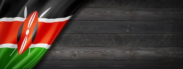 Флаг кении на черной деревянной стене