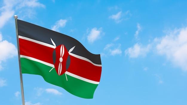 Флаг кении на шесте. голубое небо. государственный флаг кении