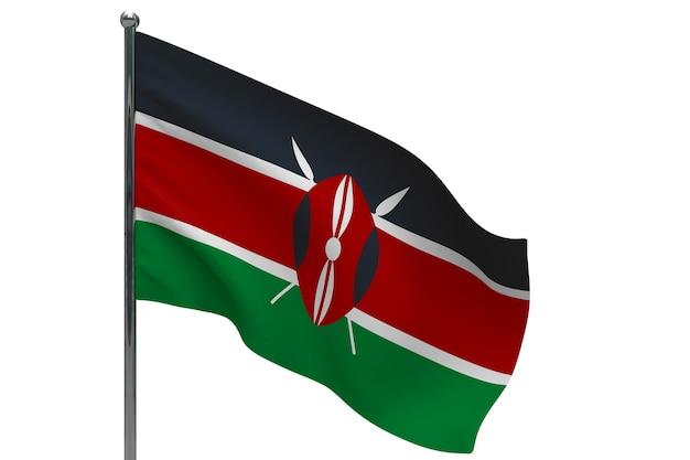 Флаг кении на шесте. металлический флагшток. национальный флаг кении 3d иллюстрации на белом