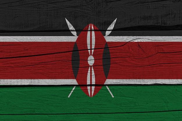 Kenya flag painted on old wood plank