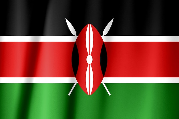 Kenya flag pattern on the fabric texture