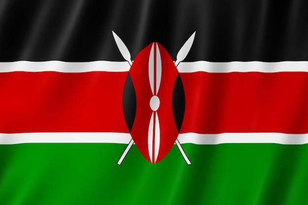 Флаг кении развевается на ветру.