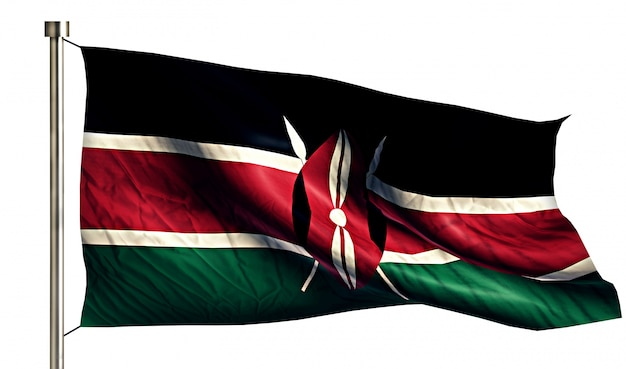 Kenya national flag isolated 3d white background