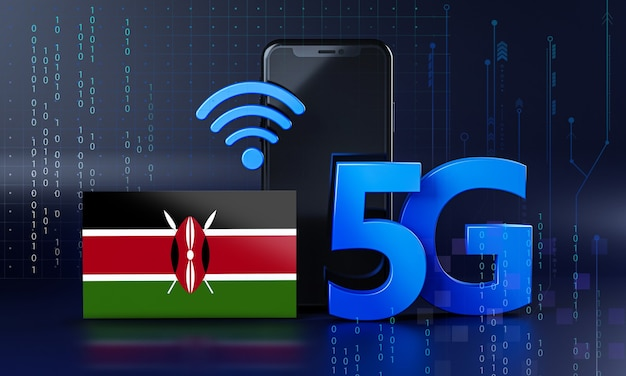 Kenya ready for 5g connection concept. 3d rendering smartphone technology background