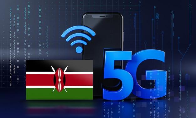 ケニアは5g接続コンセプトの準備ができています。 3dレンダリングスマートフォン技術の背景