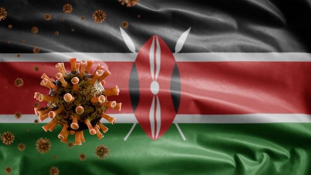 Кенийский флаг развевается и концепция ncov коронавируса 2019.